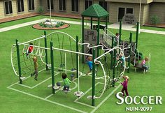 Custom Soccer Theme Playground Design, such a cute playground, finally a soccer net kids are supposed to climb.