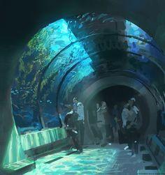 The Art Of Animation, Patrick Faulwetter - . Fantasy Landscape, Fantasy Art, Landscape Art, Underwater City, Wow Art, Environment Concept Art, Environmental Art, Anime Scenery, Pretty Art