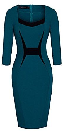 HOMEYEE Women's Vintage 3/4 Sleeve Sheath Cocktail Casual Wear to Work Dress B345 at Amazon Women's Clothing store:
