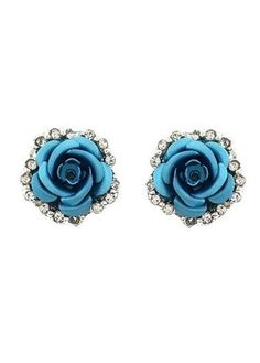 Pair of Charming Rhinestone Rose Alloy Earrings For Women USD Silver Jewellery Online, Fashion Jewellery Online, Trendy Fashion Jewelry, Yellow Earrings, Flower Earrings, Silver Earrings, Stud Earrings, Flower Stud, Flower Shape