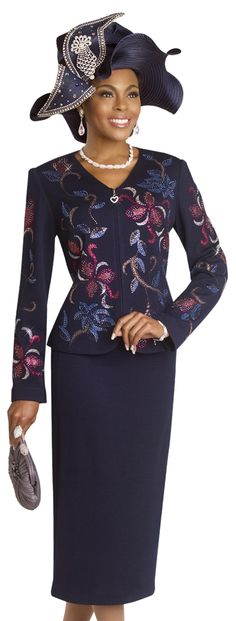 Exclusive Knitted Navy Special Church Suit