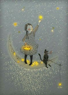 Find images and videos about cat, stars and moon on We Heart It - the app to get lost in what you love. Art And Illustration, Creative Illustration, Landscape Illustration, Art Fantaisiste, Moon Art, Pics Art, Whimsical Art, Stars And Moon, Sun Moon