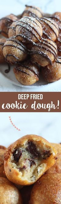 Fried Cookie Dough made with homemade chocolate chip cookie dough, dipped in batter, and fried to golden crispy perfection! Deep Fried Cookie Dough made with homemade chocolate chip cookie dough, dipped in batter, and fried to golden crispy perfection! Baking Recipes, Cookie Recipes, Dessert Recipes, Food Porn, Deep Fried Cookie Dough, Homemade Chocolate Chip Cookies, Chocolate Party, Slow Cooker Desserts, Think Food