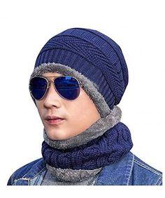 f15afa56 Beanie Hat Scarf Set Skull Cap Winter Fleece Lined Knit Hat Thick For Men/Women  Navy2 C8186THCZEW