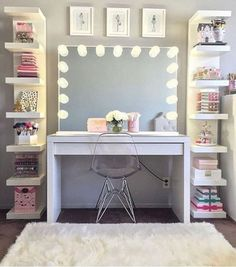 125 Amazing Teen Girl Bedroom Decor Ideas - Page 2 of 2 - Kyleigh's New Room - Sala Glam, Vanity Room, Closet Vanity, Closet Mirror, Corner Vanity, Glam Room, Makeup Rooms, Room Goals, Beauty Room