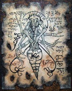 DEMONIO araña Cthulhu Necronomicon fragmento espada y por zarono