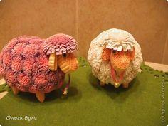 Поделка изделие День рождения Пасха Квиллинг Пасхальные овечки  Всем Овнам посвящается  Картон гофрированный фото 1