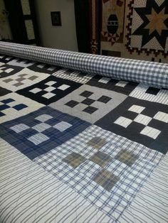By Lisa Bongean of Primitive Gatherings. High contrast nine patch Flannel Quilts, Plaid Quilt, Striped Quilt, Boy Quilts, Scrappy Quilts, Shirt Quilts, Recycled Shirts, Scrap Quilt Patterns, Nine Patch Quilt