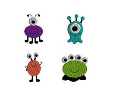 4 Mini Monster Machine Embroidery Designs-INSTANT by SewChaCha