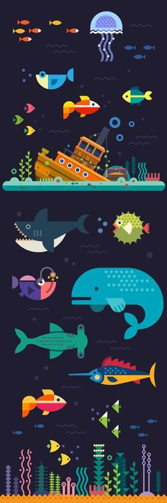 Sea life. Sunken ship at the bottom of the sea and fish: whale, shark, sword fish and other. Vector flat illustration