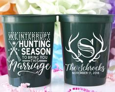 We Interrupt Hunting Season Monogram Stadium Cups - Custom designed and printed, personalized 16 oz. plastic stadium cups help you Celebrate Happy even before your event starts. Perfect for any wedding or event!   - Yippee Daisy    #partycups #weddingdecor #bacheloretteparty