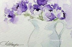 Watercolor Painting Print Purple Flowers in White Pitcher Bouquet Wildflower Floral Garden