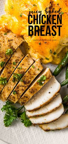 Learn how to make the most flavorful, tender and juicy easy baked chicken breasts - no more dry chicken! Five minutes prep and just 20 minutes in the oven! Best Chicken Recipes, Oven Recipes, Side Dish Recipes, Easy Dinner Recipes, Cooking Recipes, Dishes Recipes, Diabetic Recipes, Meat Recipes, Recipies