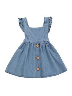 Denim Ruffle Dress – Little Lavish Legends Girls Denim Dress, Little Girl Dresses, Girls Dresses, Dresses For Toddlers, Toddler Denim Dress, Little Girl Fashion, Kids Fashion, Fashion Hacks, Toddler Girl Style