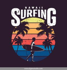 Vintage colorful hawaii surfing label vector image on VectorStock