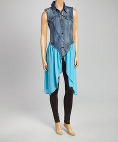 Look at this #zulilyfind! Blue & Denim Studded Sleeveless Dress #zulilyfinds