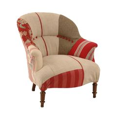 Maine Patchwork Chair at Found Vintage Rentals. Patchwork upholstered armchair in neutral and red tones. Perfect paired together, separately or among a grouping of lounge pieces.