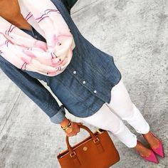 Chambray, white pants, cute scarf