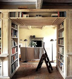 Interiorstyledesign: Often wasted and unused space, this hallway was converted into a mini library with the addition of rustic wood bookshelves. (via A Touch of Rustic Design Library Inspiration, Library Ideas, Home Libraries, Interior Exterior, Built Ins, My Dream Home, Future House, Home Office, Living Spaces
