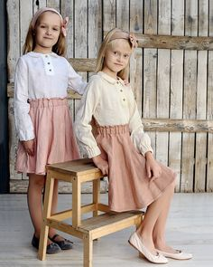 Linen circle skirt for girls with comfy rubber. Girls size measurements : years/ Height: cm), Bust: 26 cm ), Waist: cm), Hips: cm) Available colors : Biscuit Model is wearing biscuit color skirt. Girly Girl Outfits, Kids Outfits Girls, Cute Outfits For Kids, Girls Occasion Dresses, Girls Party Dress, Girls Dresses, Little Girl Skirts, Skirts For Kids, Sewing Kids Clothes