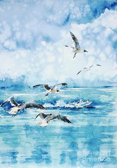 Watercolor ocean with gulls