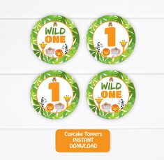 Printable Safari Cupcake toppers, Wild One Cake toppers, Jungle Wild One Birthday 2 inches Round Stickers, Safari Tags INSTANT DOWNLOAD