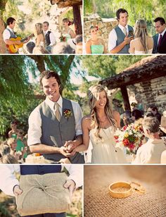 boho style wedding - cool site. mostly though i pinned this for the burlap ring bearer pillow!