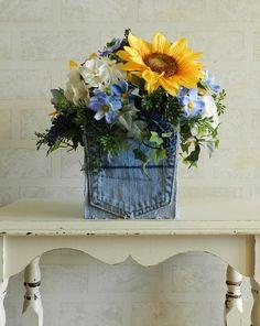 Sunflower and Denim Floral Table Arrangement by BurlapNBlossoms, $35.00