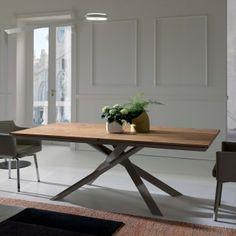 Tavolo allungabile in legno con base in metallo 4x4 di Ozzio Design