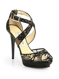 5362579a4c40  Jimmy Choo Kuki Lace Platform Sandals  Saks.com Black High Heel Sandals