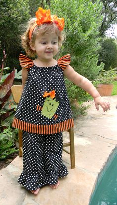 Halloween Sweet Fran-kenstein...Boutique Pants and Swing Top Outfit...Size 18m-6yrs on top, 6-12m to 8yrs in Pants. $40.00, via Etsy.