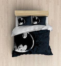 Batman Bedding - Super Hero Bedding Set, Batman Duvet Cover, The Dark Knight, Batman Circle Logo, DC COMICS