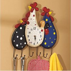 Multifunctional Wall Clock in Rooster Featured Design Decorative Painting Projects, Diy Wood Projects, Wood Crafts, Diy And Crafts, Chicken Crafts, Chicken Art, Tole Painting, Painting On Wood, Country Chicken