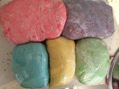 Homemade play dough! Rainbow colours