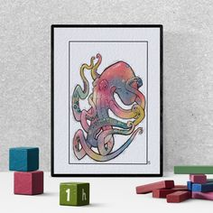 Octopus watercolor wall art, ocean lover gift,  housewarming gift, kraken print, rainbow printable wall decor