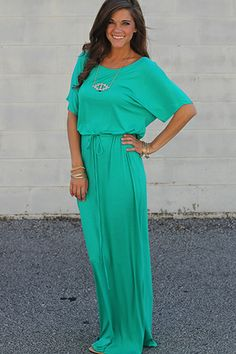 """This gem of a maxi gives you a stunning, red-carpet look! We love the gorgeous jade color, and the soft material with the drawstring waist! Although it may seem simple, this stunning style can do no wrong! :) Fits true to size. Miranda is wearing the small. Length from shoulder to hem: S-60"""" M-61"""" L-62"""""""
