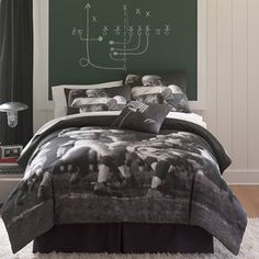 Football Photo Real Mini Comforter Set and Accessories - jcpenney Like the wall with plays on it