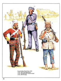 Central India,March-Sept.1858: 1:Pte.,HM 72nd Highlanders.2:Pte.,HM Rifle Bgd. (Camel Corps).3:Pte.,Hm 95th Rgt.