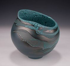 Altered Vessel, Blue Slip, Crawl Glazes by Mary Fox: