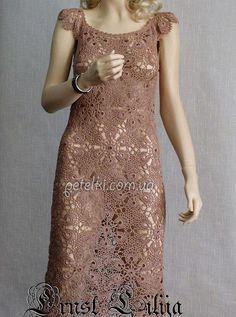 Красивое платье ажурными мотивами. Схемы