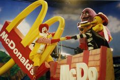 """GROWING M"" 1992. (:30 sec. TV. U.S. and International). Ronald and his friends plant a small McDonald's golden arch, and magically grow an entire McDonald's restaurant right under their feet. Birdie, Grimace and Hamburglar wind up stranded on the rooftop, but Ronald rides in on the newly grown McDonald's road sign, and rescues everyone. Safe on the ground they all celebrate by having a delicious lunch at McDonald's. This is a true story. It actually happened. Really. Mcdonald's Restaurant, Do You Remember, Conceptual Art, Mcdonalds, Rooftop, Food Art, Ronald Mcdonald, Nostalgia, The Past"