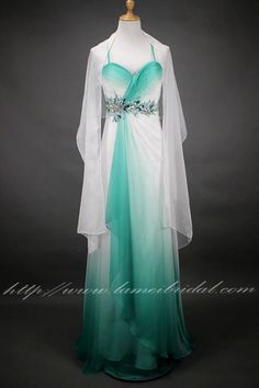 Mint green And White Long Gradient Silk Chiffon Prom Graduation Bridesmaid or Formal Evening Dress by LAmei on Etsy Pretty Outfits, Pretty Dresses, Mint Gown, Prom Heels, Traditional Fashion, Long Bridesmaid Dresses, Formal Evening Dresses, Green Dress, Silk Chiffon
