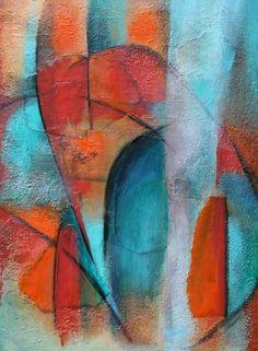 exto.nl | abstract turquoise rood van Susan van Duijkeren