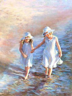Two Sisters Walk Along The Beach   Kathryn A. Fincher art   Siblings Love   Art Painting