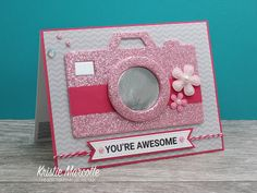camera selfie mirror card by Kristie Marcotte Baby Mini Album, Camera Cards, Stamp Pad, Beautiful Handmade Cards, Shaker Cards, Mothers Day Crafts, Card Sketches, Funny Cards, You're Awesome