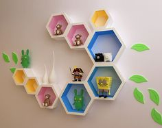 Creative plaid TV background wall paint decorative storage partition wall mount rack / shelving hexagon