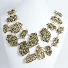 High Quality Golden Druzy Stone Crystal Statement Bib Chunky Necklace | allureJewelry - Jewelry on ArtFire