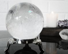 Quartz Crystal Ball with Silver Stand by GrayVervain on Etsy, $86.00