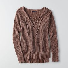 AE Lace-Up Sweater ($45) ❤ liked on Polyvore featuring tops, sweaters, brown, long oversized sweaters, v-neck top, american eagle outfitters sweaters, over sized sweaters and long brown sweater