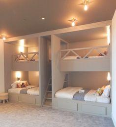 Room Design Bedroom, Home Room Design, Bedroom Decor, Bunk Bed Rooms, Bunk Beds Built In, Custom Bunk Beds, Location Villa, Luxury Homes Dream Houses, Kids Bedroom Furniture